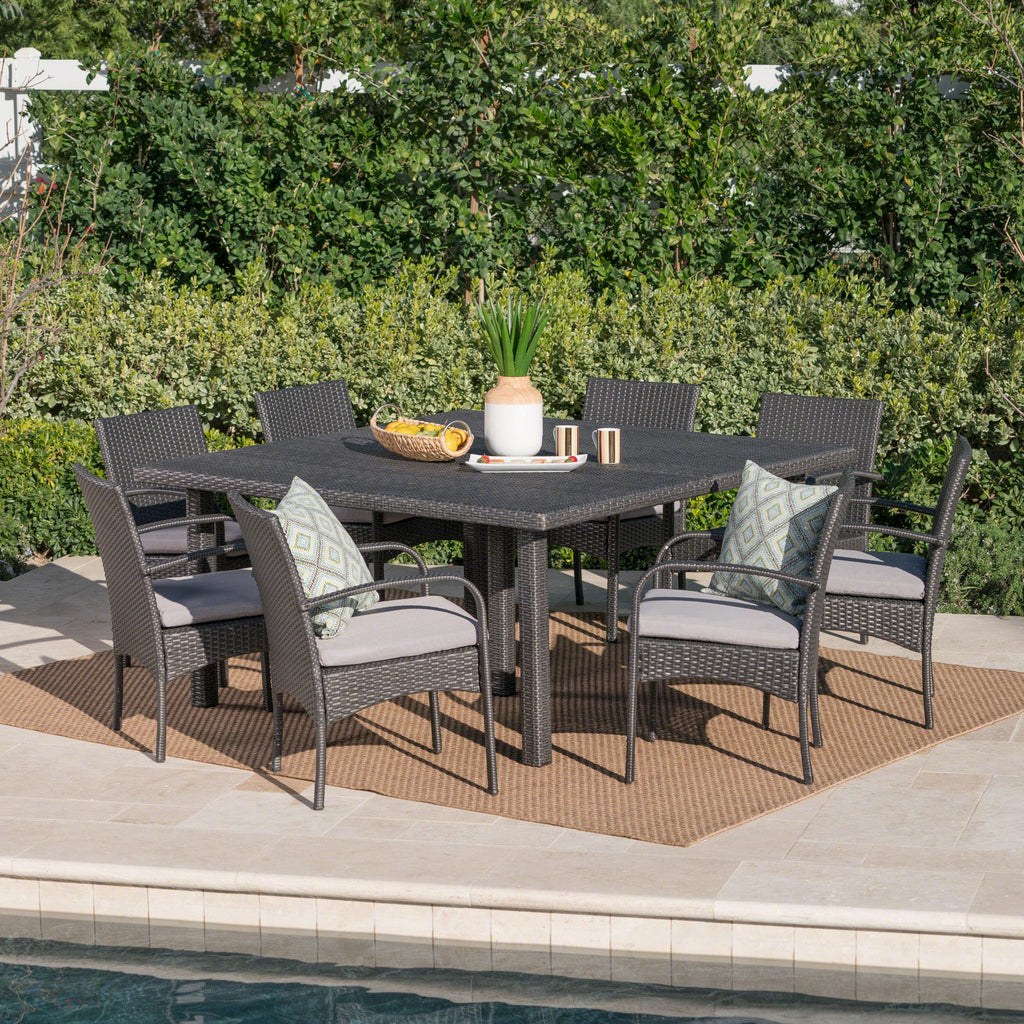 Coral Outdoor 9 Piece Wicker Dining Set with Water Resistant Cushions