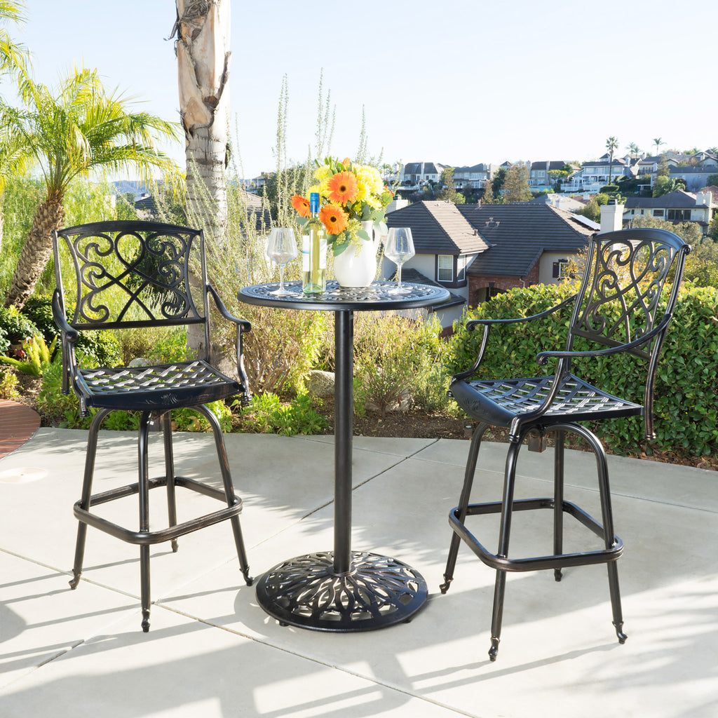 Paris Outdoor 3pc Copper Cast Aluminum Bistro Set Gdf Studio