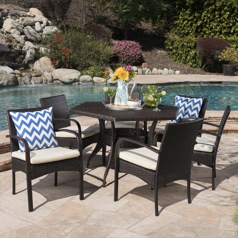 Jasmine Outdoor 7 Piece Wicker Hexagon Dining Set with Water Resistant Chairs