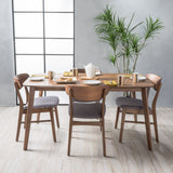 Lucille Fabric/ Natural Walnut Finish 60-inch Rectangular 5 Piece Dining Set