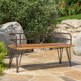 Herres Outdoor Industrial Rustic Iron and Teak Finished Acacia Wood Bench