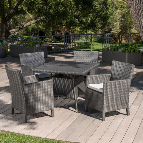 Cyril Outdoor 5 Piece Wicker Square Dining Set with Water Resistant Cushions