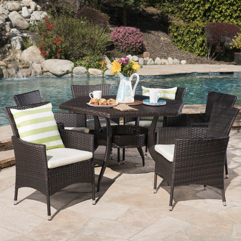 Delilah Outdoor 7 Piece Wicker Hexagon Dining Set with Stacking Chairs