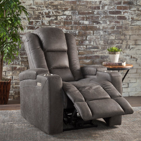 Everette Tufted Slate Microfiber Power Recliner with Arm Storage and USB Cord