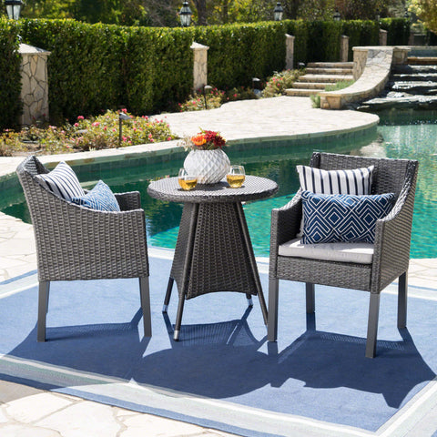 Frances Outdoor 3 Piece Wicker Dining Set with Water Resistant Cushions