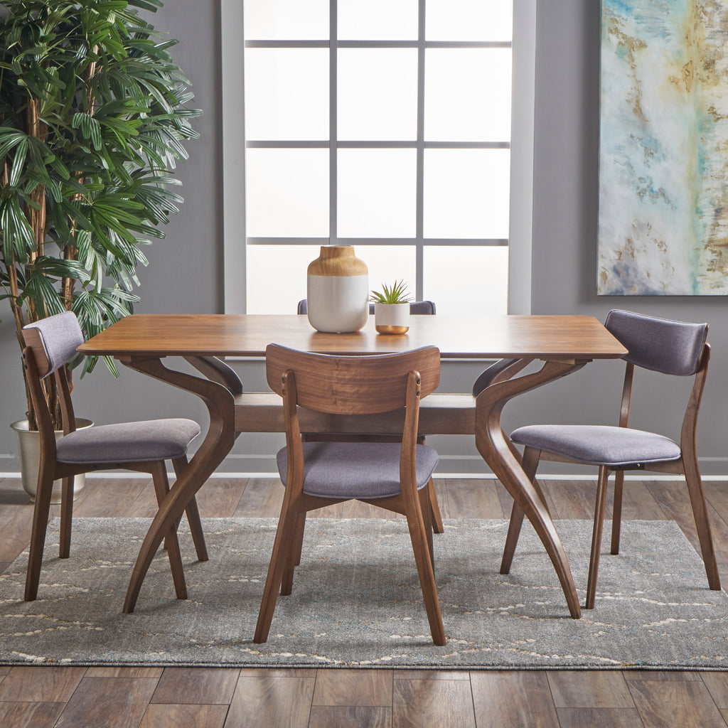 Nerron Mid Century Finished 5 Piece Wood Dining Set with Fabric Chairs