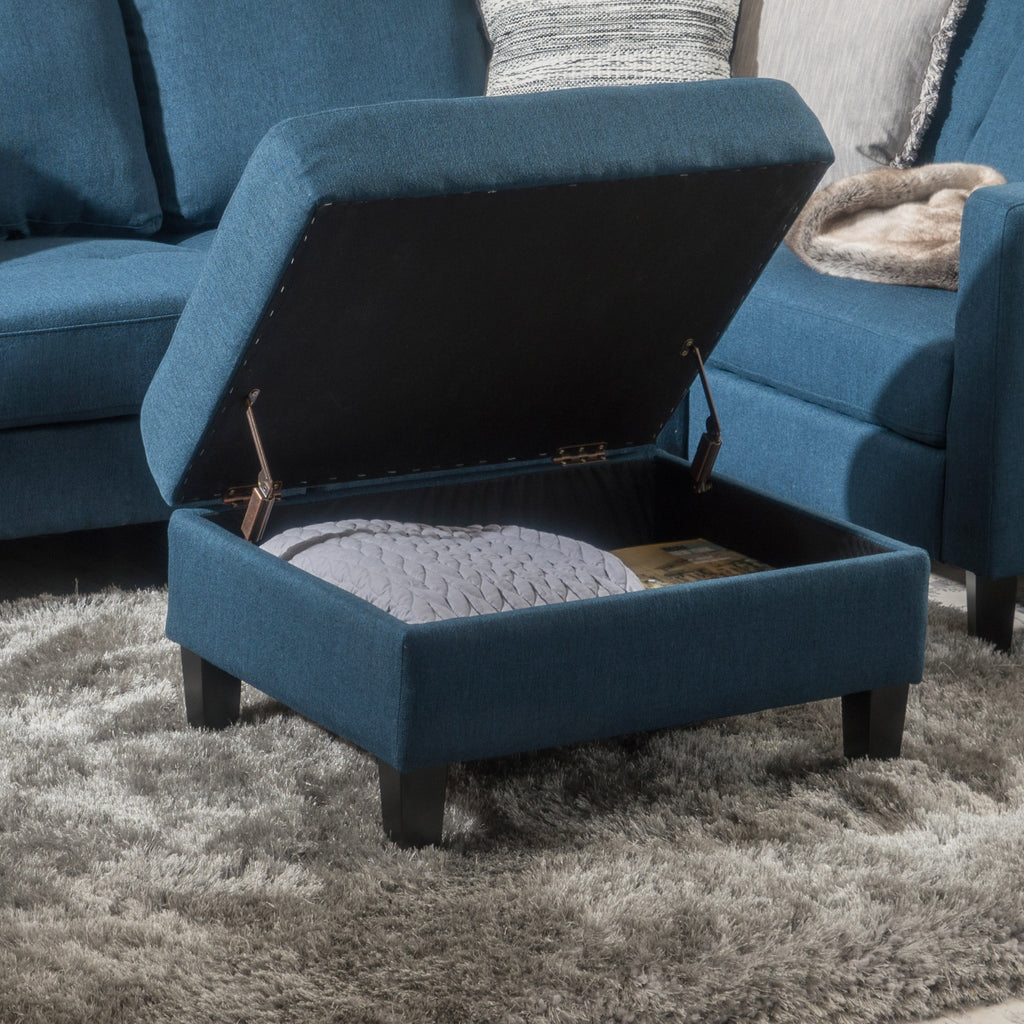 Carolina Tufted Cover Fabric Storage Ottoman Gdf Studio