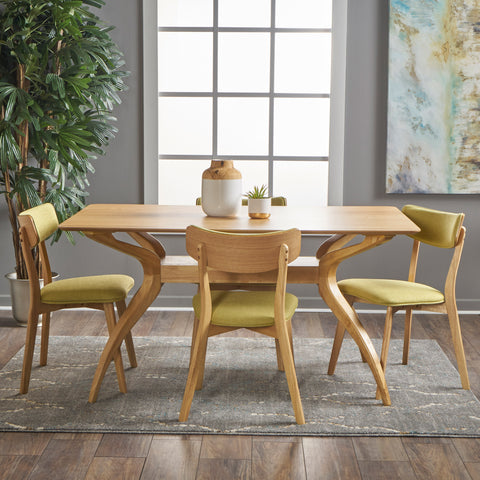 Nasseen Mid Century Finished 5 Piece Wood Dining Set with Fabric Chairs