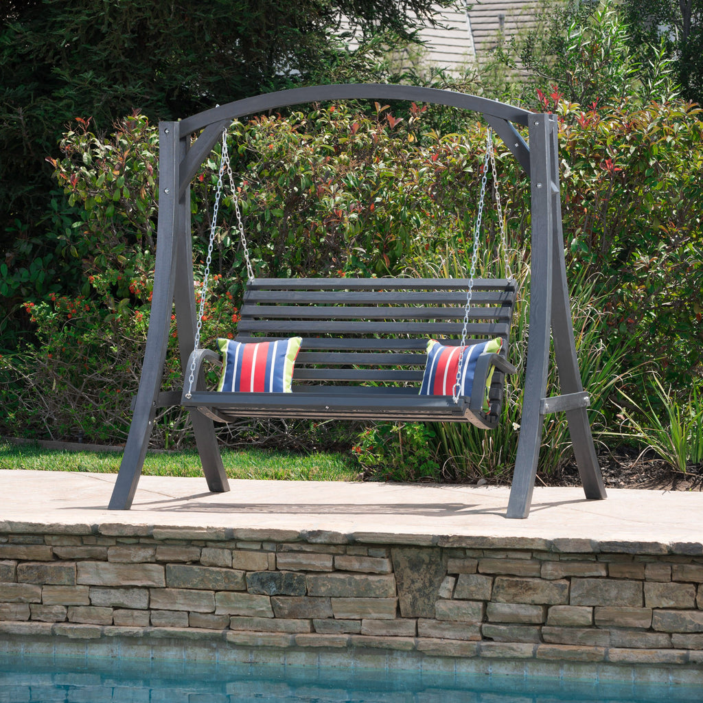 Tyrell Outdoor Grey Finished Larch Wood Swinging Loveseat