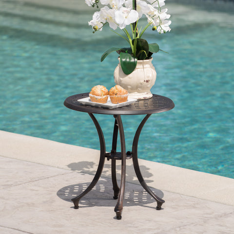 "Louis Outdoor 19"" Bronze Finished Cast Aluminum Side Table"