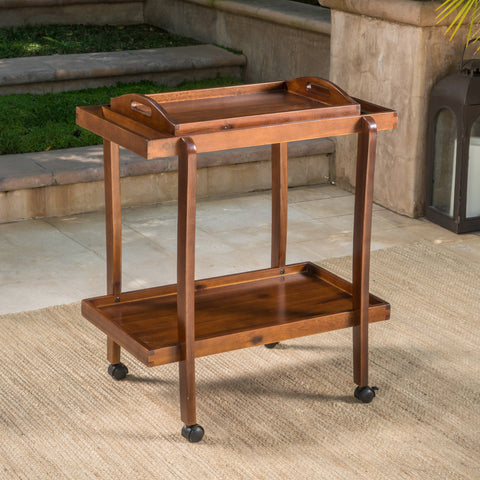 Patty Rich Mahogany Acacia Wood Bar Cart with Removable Top Tray