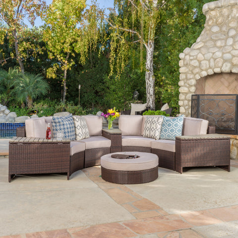 Riviera 8pc Outdoor Sectional Sofa Set w/ Storage Trunks & Ice Bucket