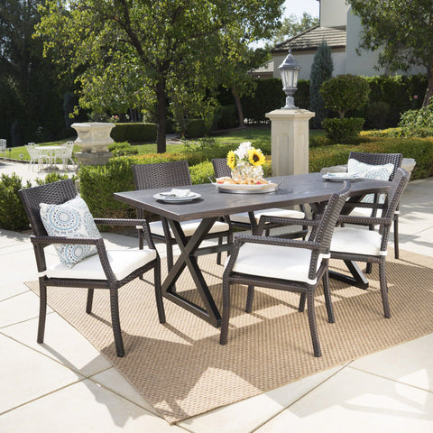 Alania Outdoor 7 Piece Aluminum Dining Set With Wicker Dining Chairs