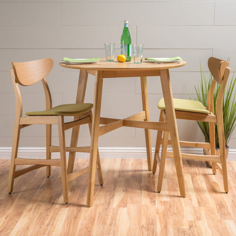 Helen Dark Fabric/ Wood Finish Counter Height Dining Set