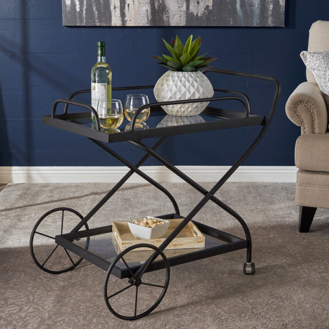 Presley Indoor Traditional Black Iron Bar Cart with Tempered Glass Shelves