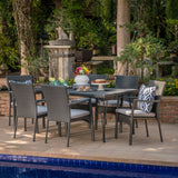 Lula Outdoor 7 Piece Wicker Rectangular Dining Set with Water Resistant Cushions