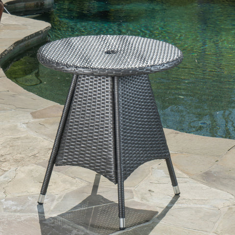 Colonial Outdoor Round Gray Wicker Bistro Table with Umbrella Hole