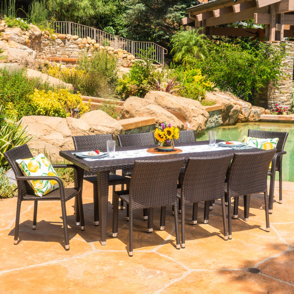 Bangladesh Outdoor 9 Piece Wicker Dining Set with Armed and Armless Dining Chairs