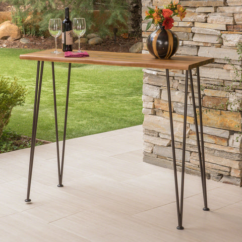 Avy Outdoor Rustic Industrial Acacia Wood Bar Table with Metal Hairpin Legs, Teak