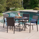 Adelante Outdoor 5 Piece Multi-brown Wicker Dining Set with Foldable Table