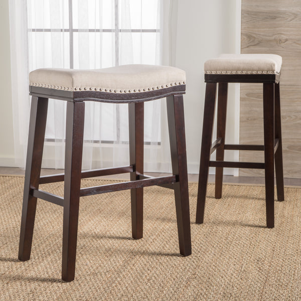 Cavalia 30 Inch Saddle Shaped Studded Rim Stool Set Of 2