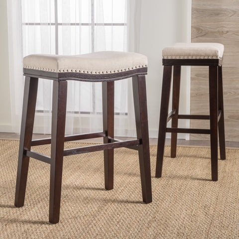 Cavalia 30-Inch Saddle Shaped Studded Rim Stool (Set of 2)