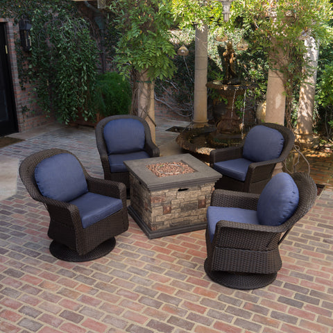 Alameda Outdoor 5 Piece Fire Pit Wicker Chat Set