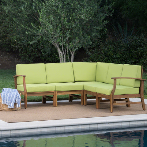 Capri Outdoor 5 Piece Sectional with Green Water Resistant Cushions