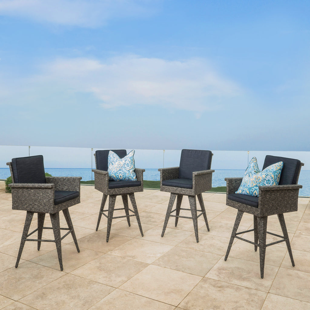 Pantini 30-Inch Mixed Black Wicker Barstools