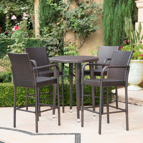 Patricia Outdoor 5 Piece Multi-brown Wicker 32.5 Inch Round Bar Table Set
