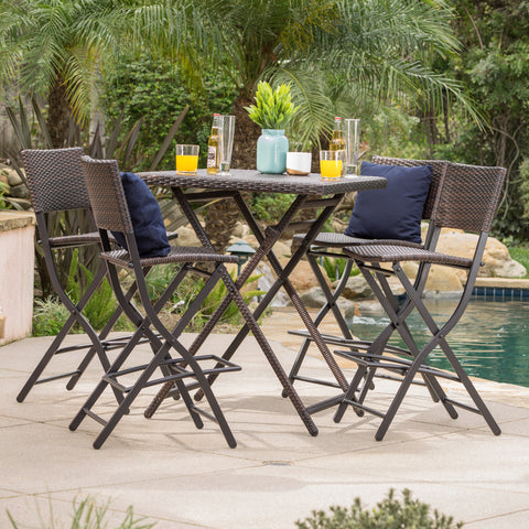 Marinelli Outdoor Multibrown Wicker 5 Piece Bar Set