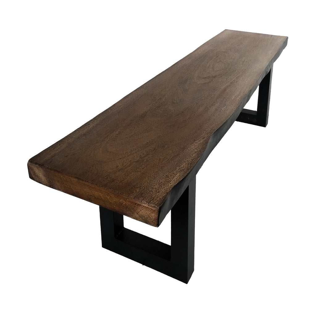 Jessica Indoor Faux Live Edge Teak Finish Light Weight Concrete Dining Bench