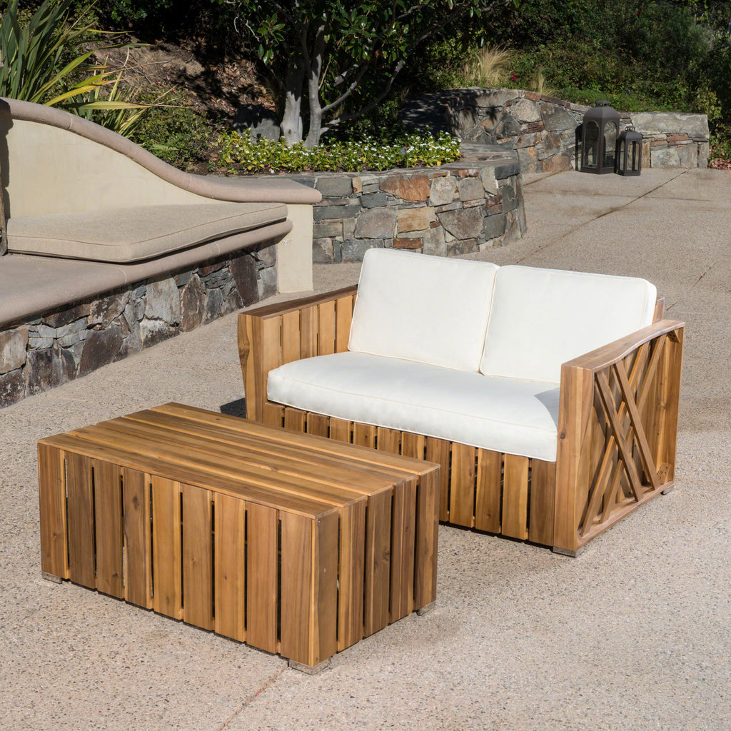 Wondrous Edward Outdoor Acacia Wood Loveseat And Coffee Table Set With Cushions Evergreenethics Interior Chair Design Evergreenethicsorg