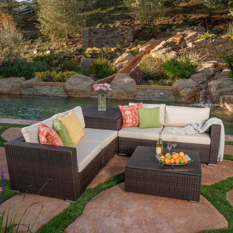 Francisco 6pc Outdoor Wicker Sectional Sofa Set w/ Cushions