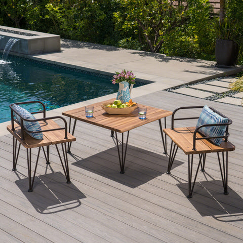 Avy Outdoor Rustic Industrial Acacia Wood Coffee Table Chat Set with Metal Hairpin Legs, Teak