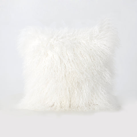 Marybelle Shaggy Ivory Lamb Fur 16 x 16 Square Pillow