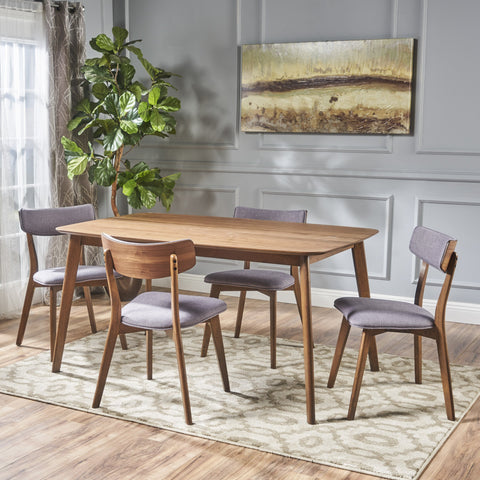 Aman Mid Century Finished 5 Piece Wood Dining Set with Fabric Chairs