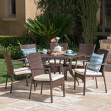 Bartley Outdoor 7 Piece Wicker Hexagon Dining Set with Brown Wicker Chairs