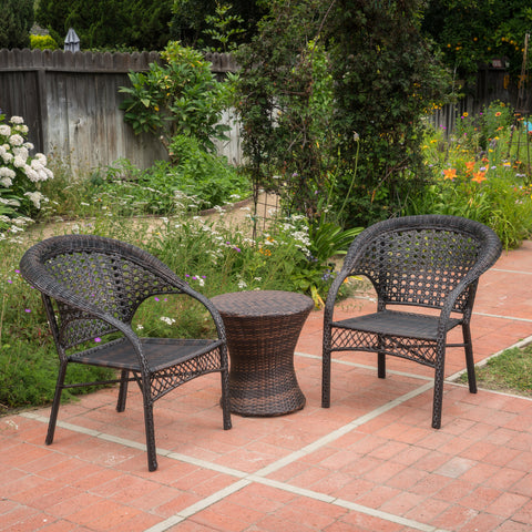 Mystic Outdoor 3 Piece Multi-brown Wicker Stacking Chair Chat Set