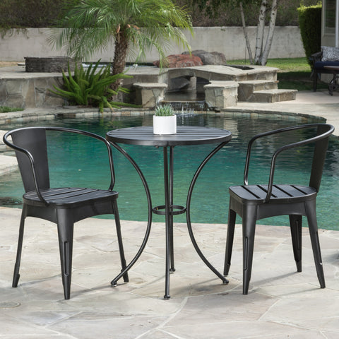 Castro Outdoor 3-piece Black Cast Bistro Set
