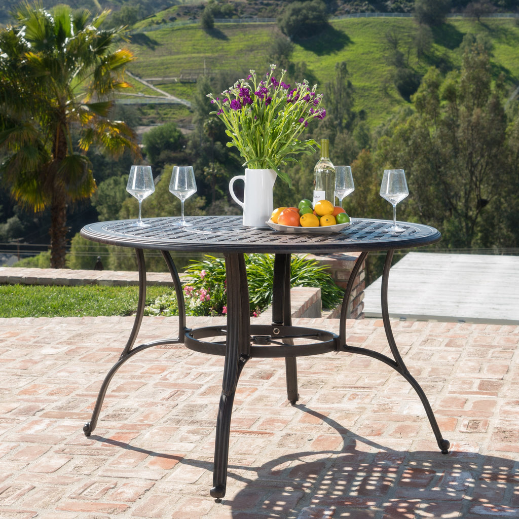 Fonzo Outdoor Bronze Cast Aluminum Circular Dining Table