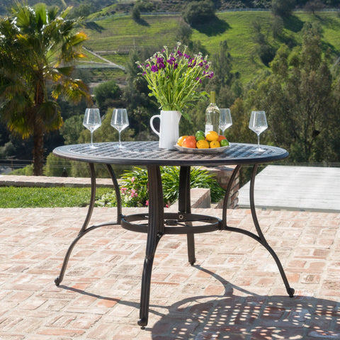 Fonzo Outdoor Bronze Cast Aluminum Circular Dining Table (ONLY)