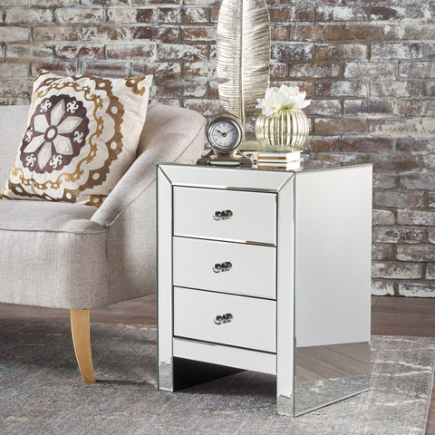 Lucille Mirror Finished 3 Drawer Accent Table