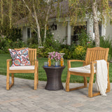Malibu Outdoor Acacia Wood 3 Piece Chat Set with Wicker Table
