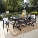 Burlingame Outdoor 6 Piece Brown Aluminum Dining Set with Multi-brown Stacking Chairs