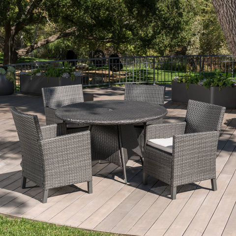 Cyril Outdoor 5 Piece Wicker Round Dining Set with Water Resistant Cushions