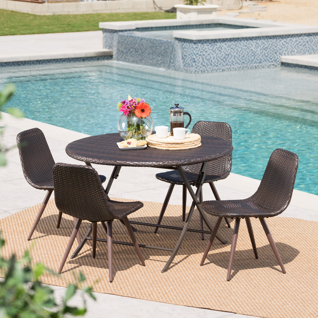 Judith Caleb Outdoor 5 Piece Multi-brown Wicker Dining Set with Foldable Table