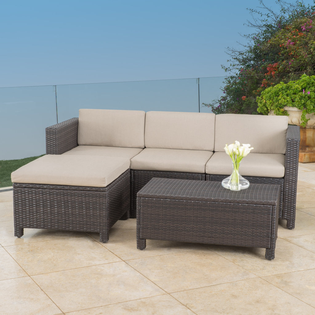 Lorita Outdoor 5-piece Dark Brown Wicker Sectional Sofa Set with Beige Cushions