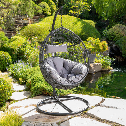 Kyle Outdoor Wicker Hanging Basket Chair with Water Resistant Cushions and Base