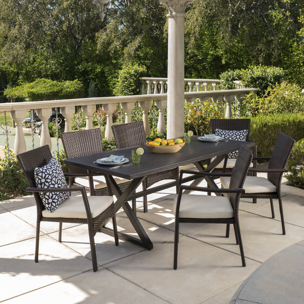 Adelade Outdoor 7 Piece Aluminum Dining Set With Wicker Dining Chairs